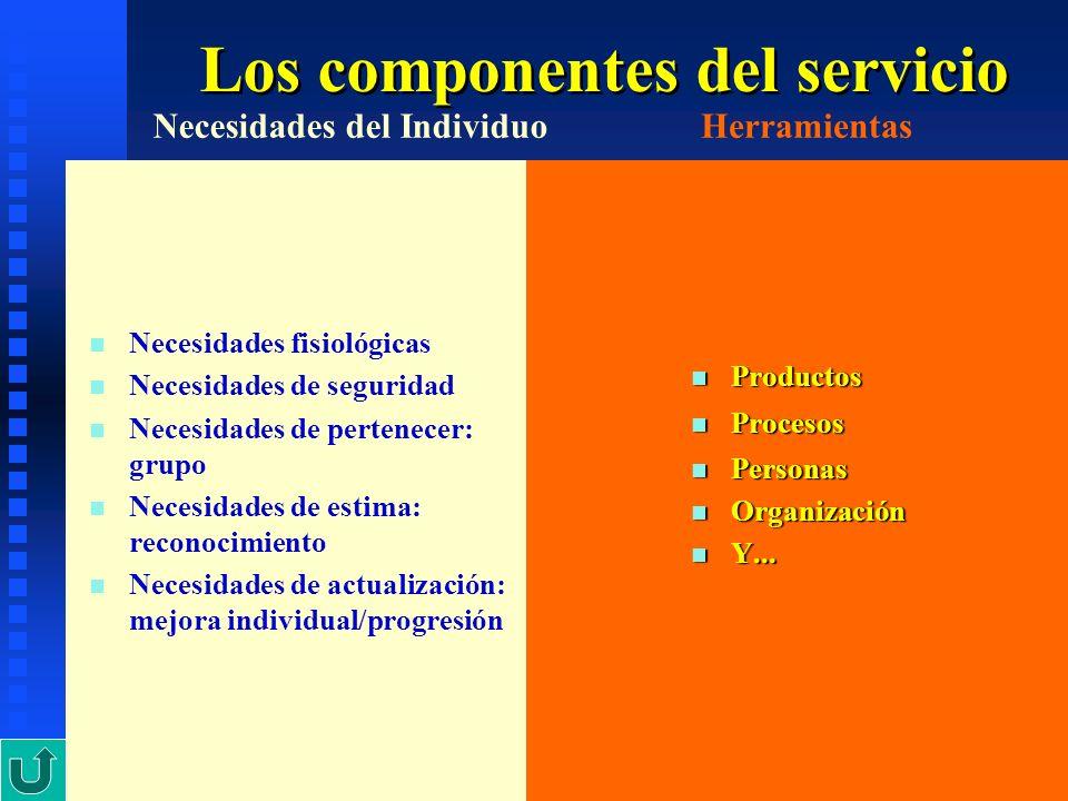 7 Los componentes del servicio n n Necesidades fisiológicas n n Necesidades de seguridad n n Necesidades de pertenecer: grupo n n Necesidades de estim