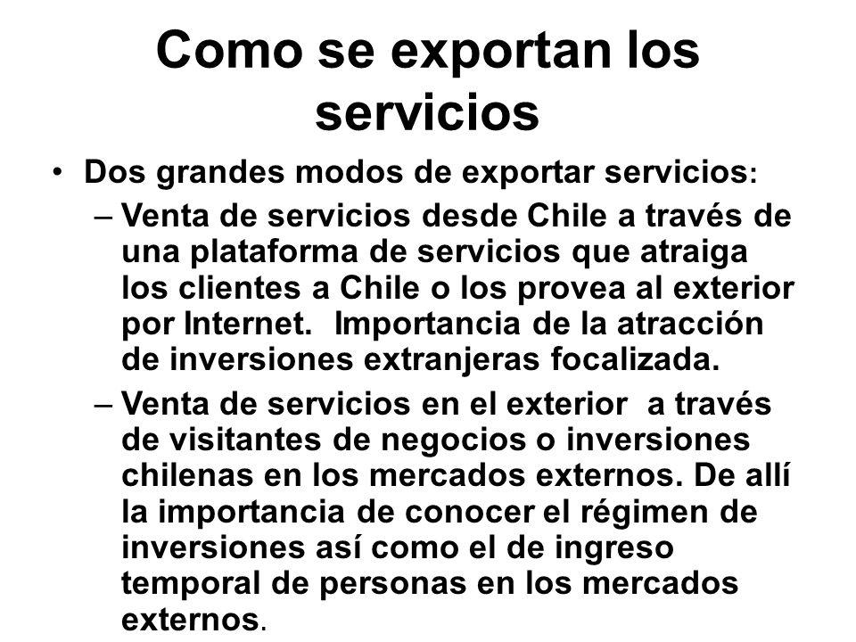 Como se exportan los servicios Dos grandes modos de exportar servicios : –Venta de servicios desde Chile a través de una plataforma de servicios que atraiga los clientes a Chile o los provea al exterior por Internet.