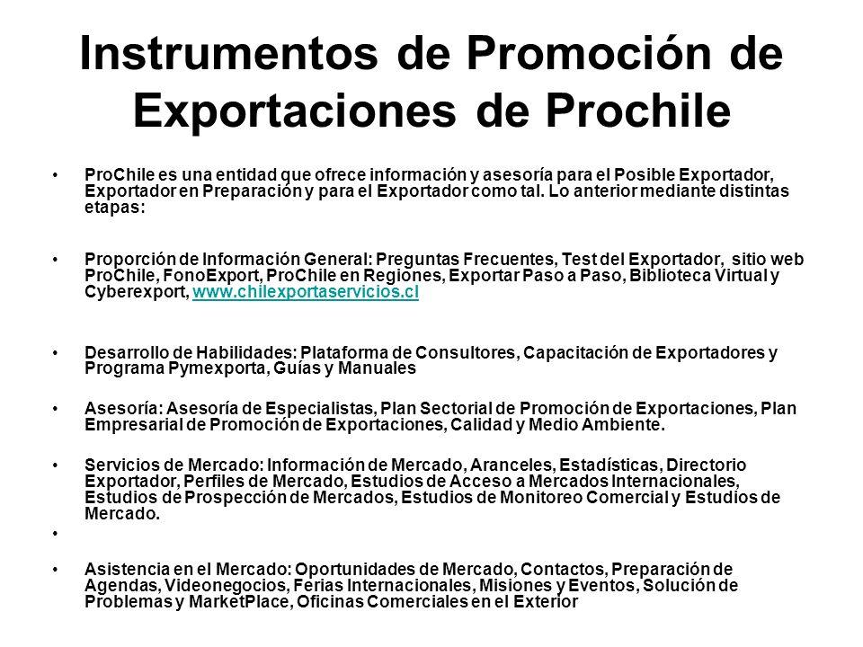 Instrumentos de Promoción de Exportaciones de Prochile ProChile es una entidad que ofrece información y asesoría para el Posible Exportador, Exportador en Preparación y para el Exportador como tal.