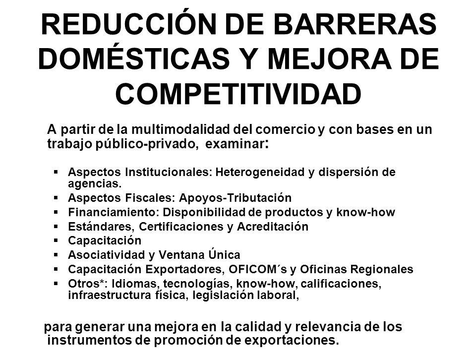 REDUCCIÓN DE BARRERAS DOMÉSTICAS Y MEJORA DE COMPETITIVIDAD A partir de la multimodalidad del comercio y con bases en un trabajo público-privado, examinar : Aspectos Institucionales: Heterogeneidad y dispersión de agencias.