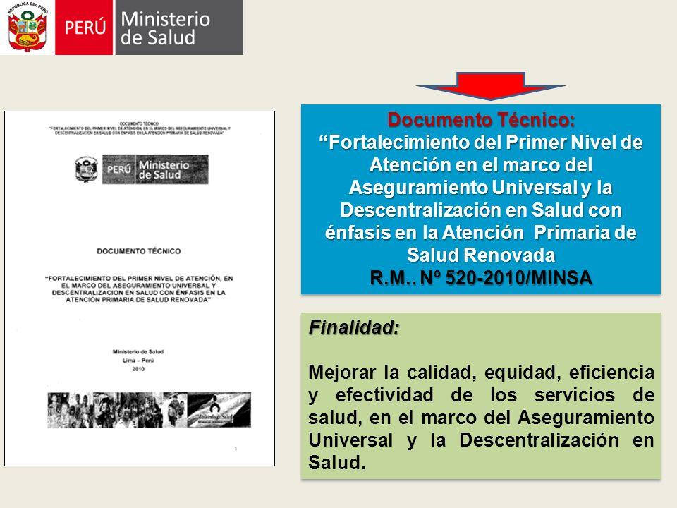 Documento Técnico: Fortalecimiento del Primer Nivel de Atención en el marco del Aseguramiento Universal y la Descentralización en Salud con énfasis en la Atención Primaria de Salud Renovada R.M..