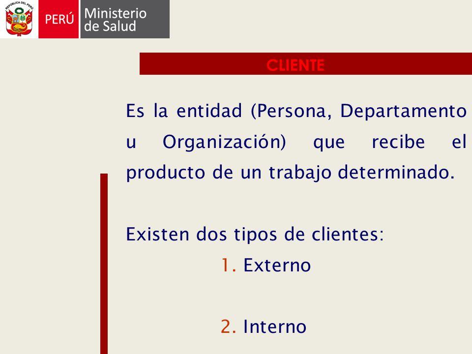 CLIENTE Es la entidad (Persona, Departamento u Organización) que recibe el producto de un trabajo determinado. Existen dos tipos de clientes: 1. Exter