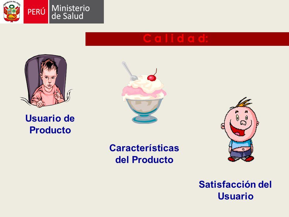 Usuario de Producto Características del Producto Satisfacción del Usuario C a l i d a d: