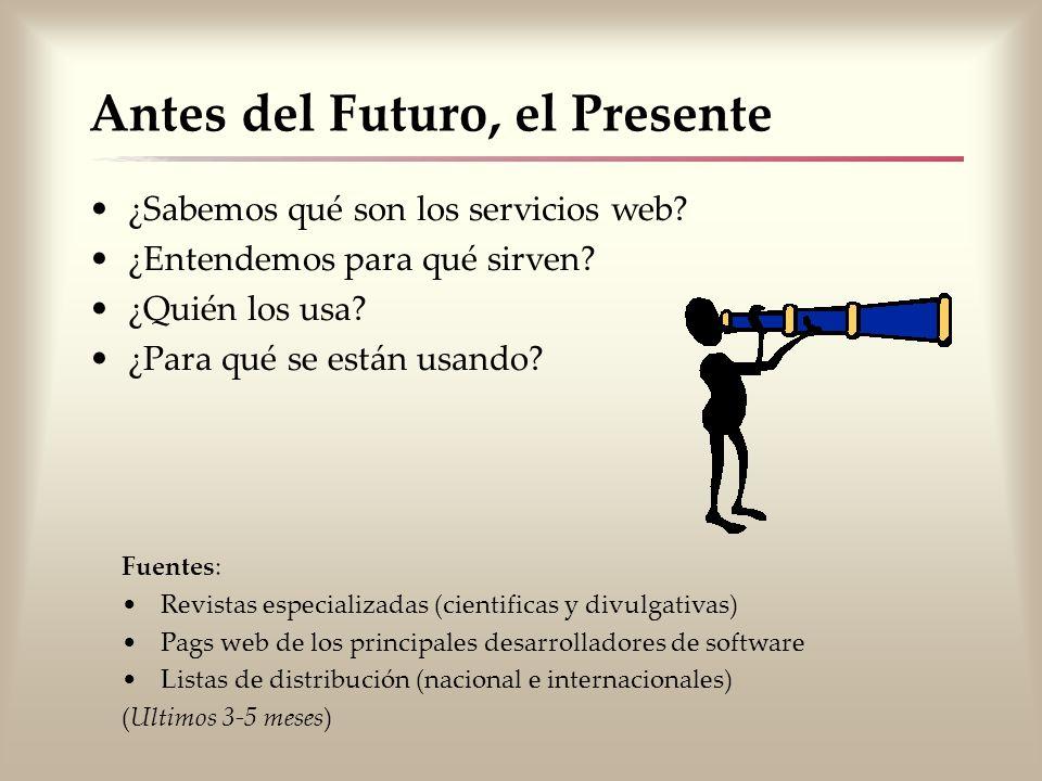 Antes del Futuro, el Presente ¿Sabemos qué son los servicios web? ¿Entendemos para qué sirven? ¿Quién los usa? ¿Para qué se están usando? Fuentes: Rev
