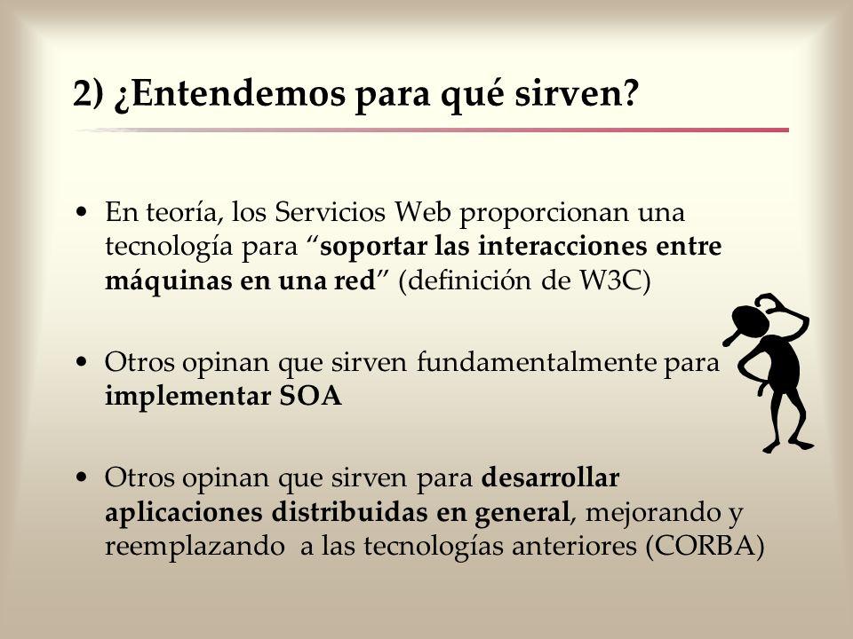 2) ¿Entendemos para qué sirven? En teoría, los Servicios Web proporcionan una tecnología para soportar las interacciones entre máquinas en una red (de