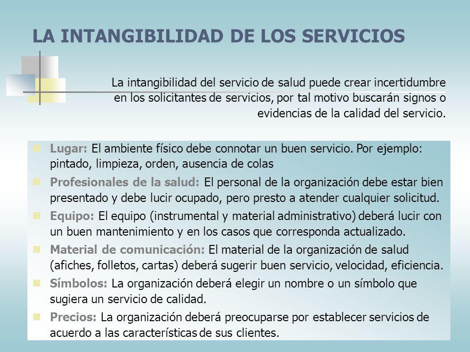 CARACTERÍSTICAS DE LOS SERVICIOS DE SALUD El cliente como un participante en el proceso de servicio. Producción y consumo simultáneo de servicios Capa