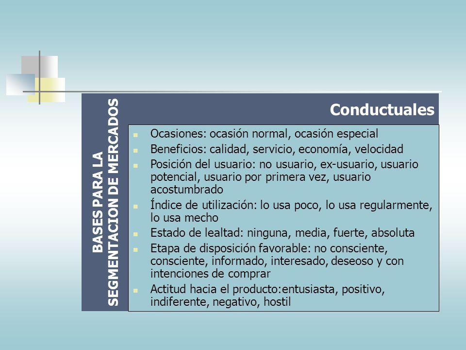 BASES PARA LA SEGMENTACION DE MERCADOS Clase social: Clase baja-baja. Clase Baja-alta, clase trabajadora, clase media típica, clase media ascendente,