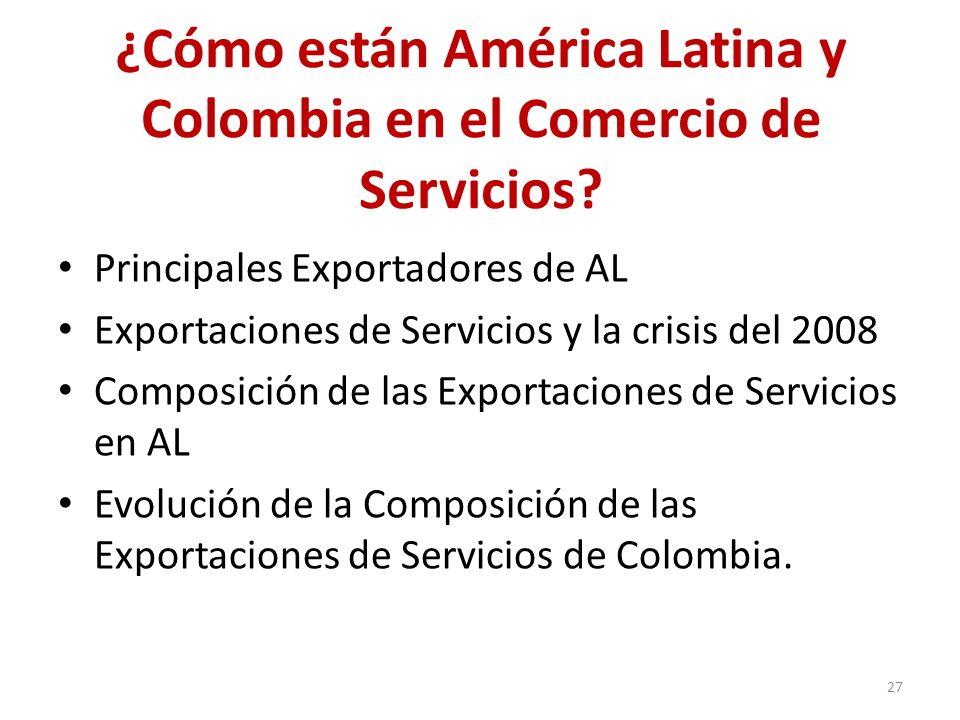 ¿Cómo están América Latina y Colombia en el Comercio de Servicios? Principales Exportadores de AL Exportaciones de Servicios y la crisis del 2008 Comp