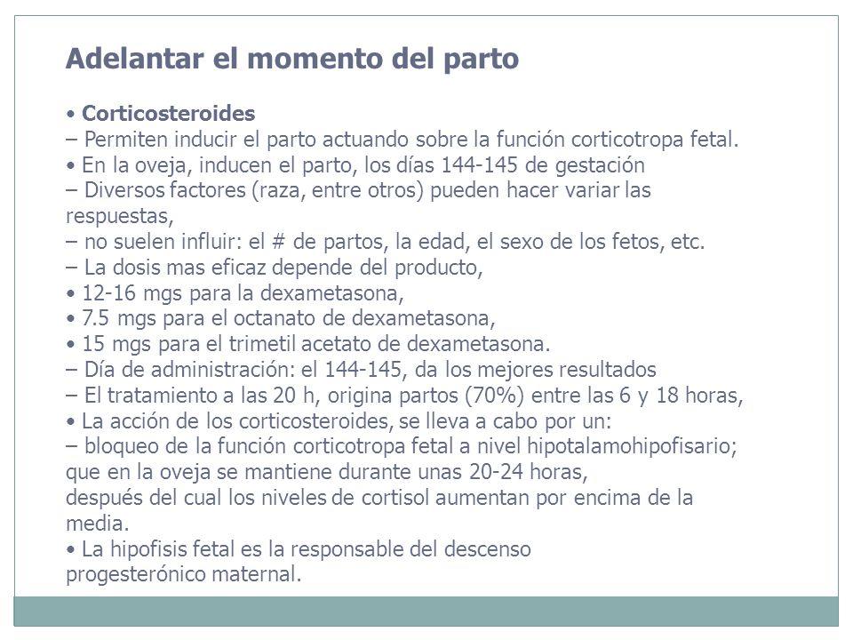 Adelantar el momento del parto Corticosteroides – Permiten inducir el parto actuando sobre la función corticotropa fetal. En la oveja, inducen el part