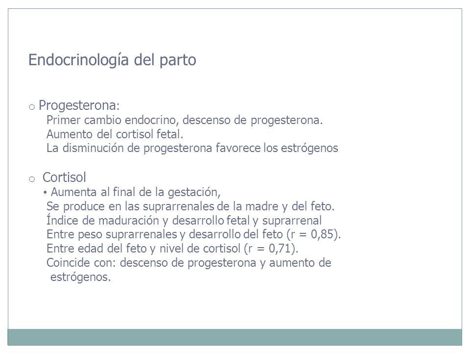 Endocrinología del parto o Progesterona : Primer cambio endocrino, descenso de progesterona. Aumento del cortisol fetal. La disminución de progesteron