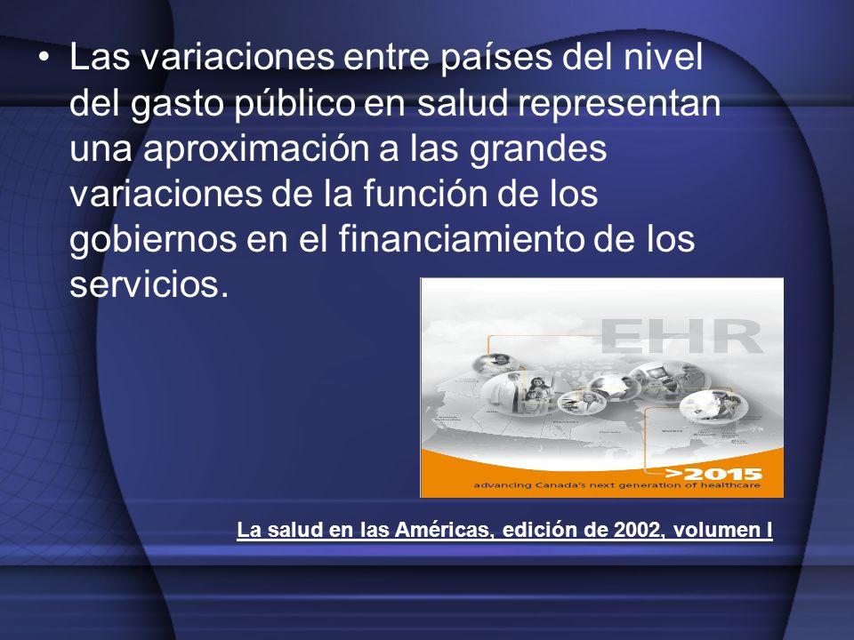 Las variaciones entre países del nivel del gasto público en salud representan una aproximación a las grandes variaciones de la función de los gobierno
