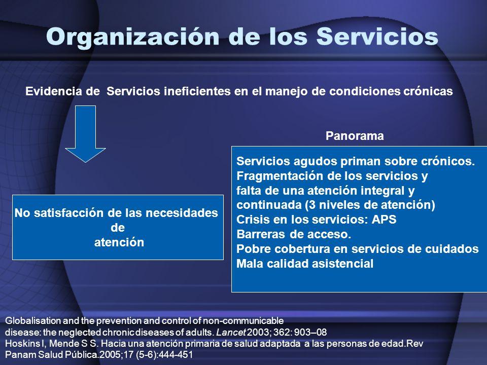 No satisfacción de las necesidades de atención Servicios agudos priman sobre crónicos. Fragmentación de los servicios y falta de una atención integral