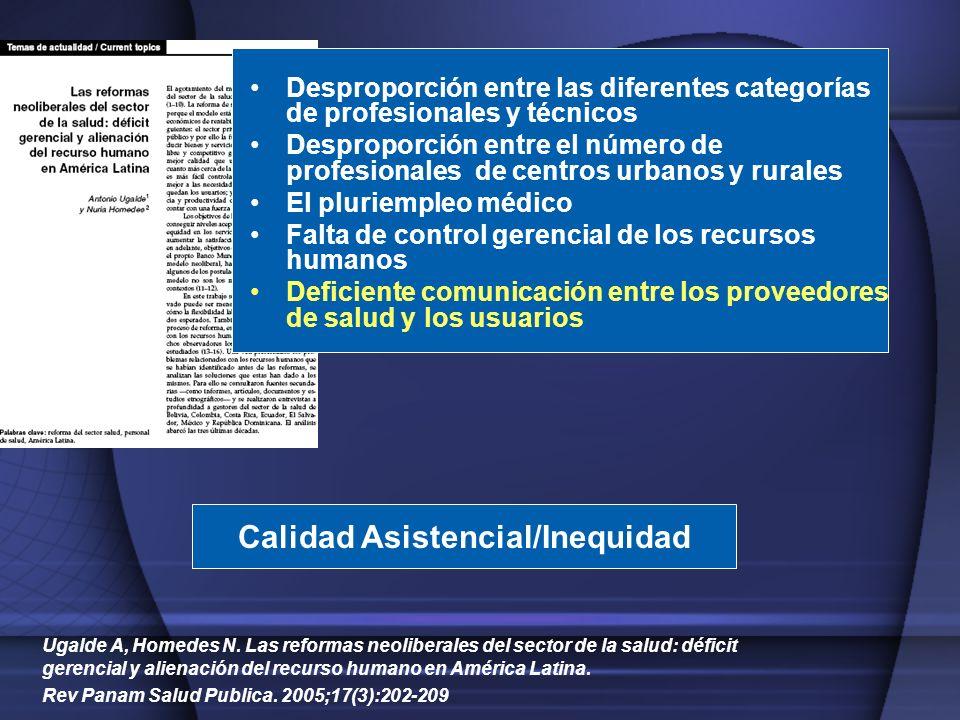 Ugalde A, Homedes N. Las reformas neoliberales del sector de la salud: déficit gerencial y alienación del recurso humano en América Latina. Rev Panam