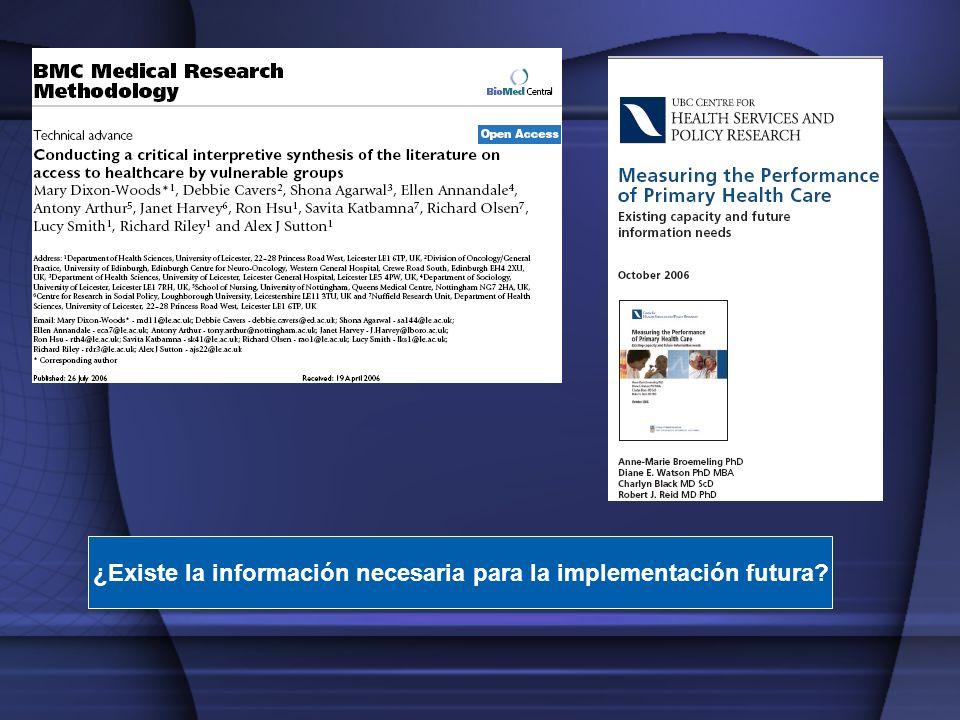¿Existe la información necesaria para la implementación futura?