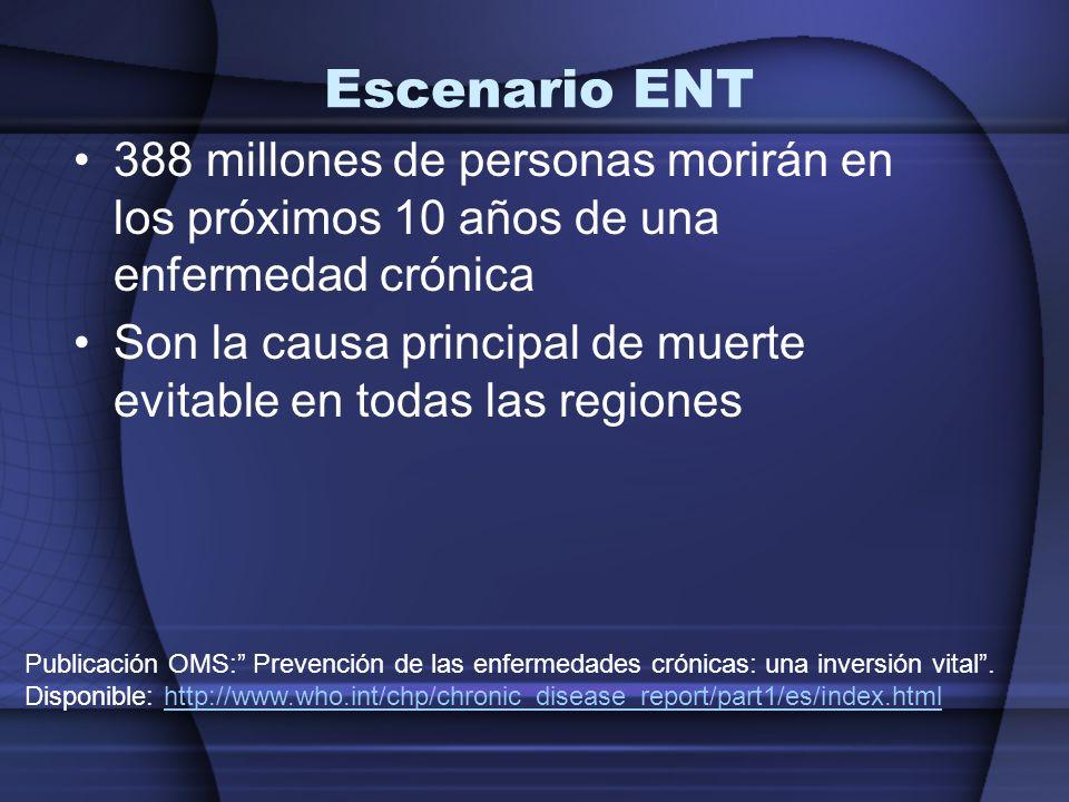 Escenario ENT 388 millones de personas morirán en los próximos 10 años de una enfermedad crónica Son la causa principal de muerte evitable en todas la
