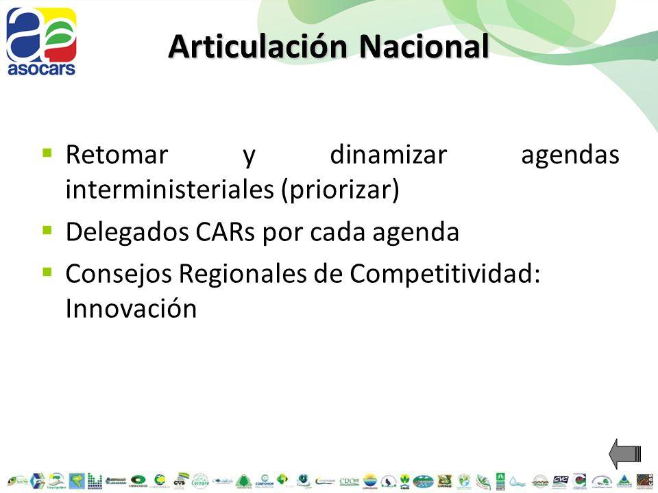 Articulación Nacional Retomar y dinamizar agendas interministeriales (priorizar) Delegados CARs por cada agenda Consejos Regionales de Competitividad: