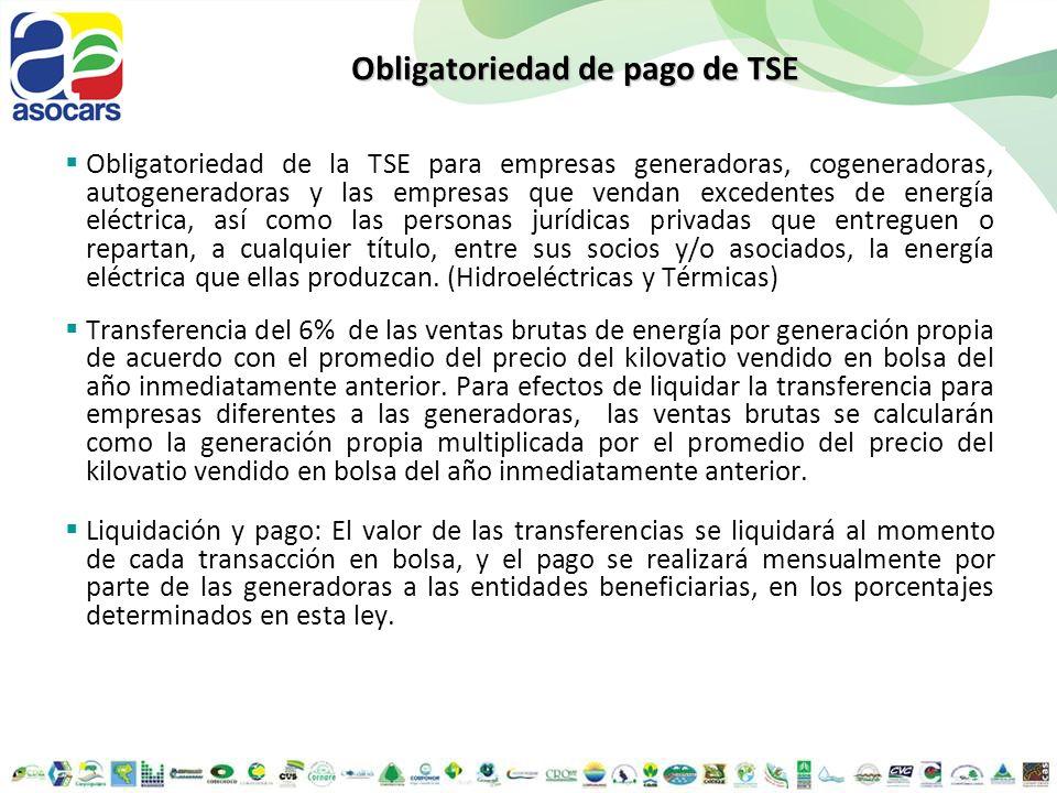 Obligatoriedad de pago de TSE Obligatoriedad de la TSE para empresas generadoras, cogeneradoras, autogeneradoras y las empresas que vendan excedentes