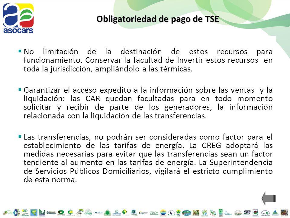 Obligatoriedad de pago de TSE No limitación de la destinación de estos recursos para funcionamiento. Conservar la facultad de Invertir estos recursos