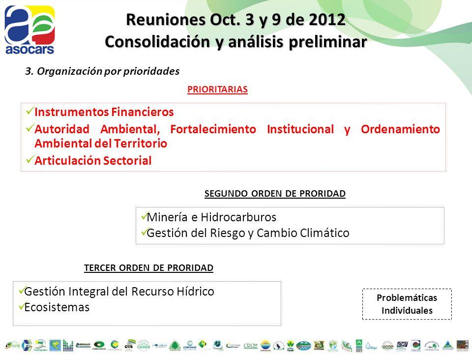 Reuniones Oct. 3 y 9 de 2012 Consolidación y análisis preliminar 3. Organización por prioridades Instrumentos Financieros Autoridad Ambiental, Fortale
