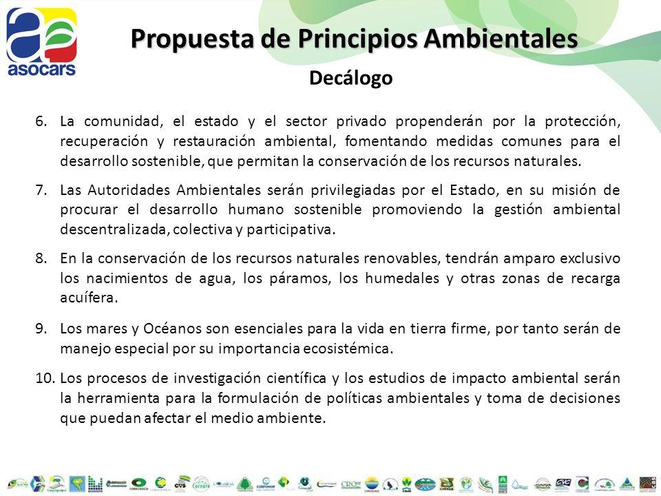 6.La comunidad, el estado y el sector privado propenderán por la protección, recuperación y restauración ambiental, fomentando medidas comunes para el