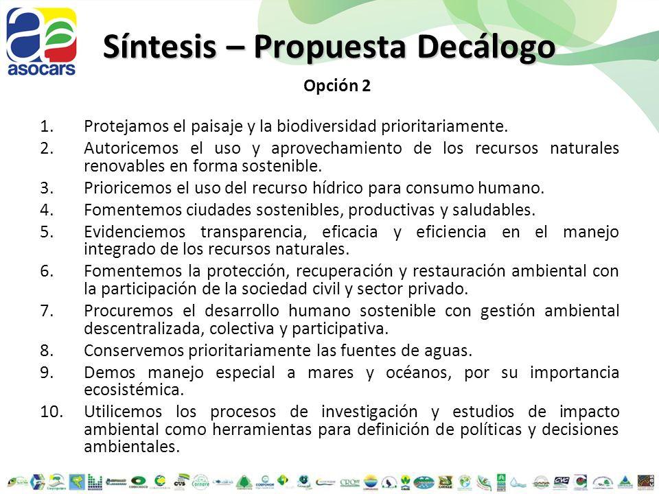 Síntesis – Propuesta Decálogo 1.Protejamos el paisaje y la biodiversidad prioritariamente. 2.Autoricemos el uso y aprovechamiento de los recursos natu