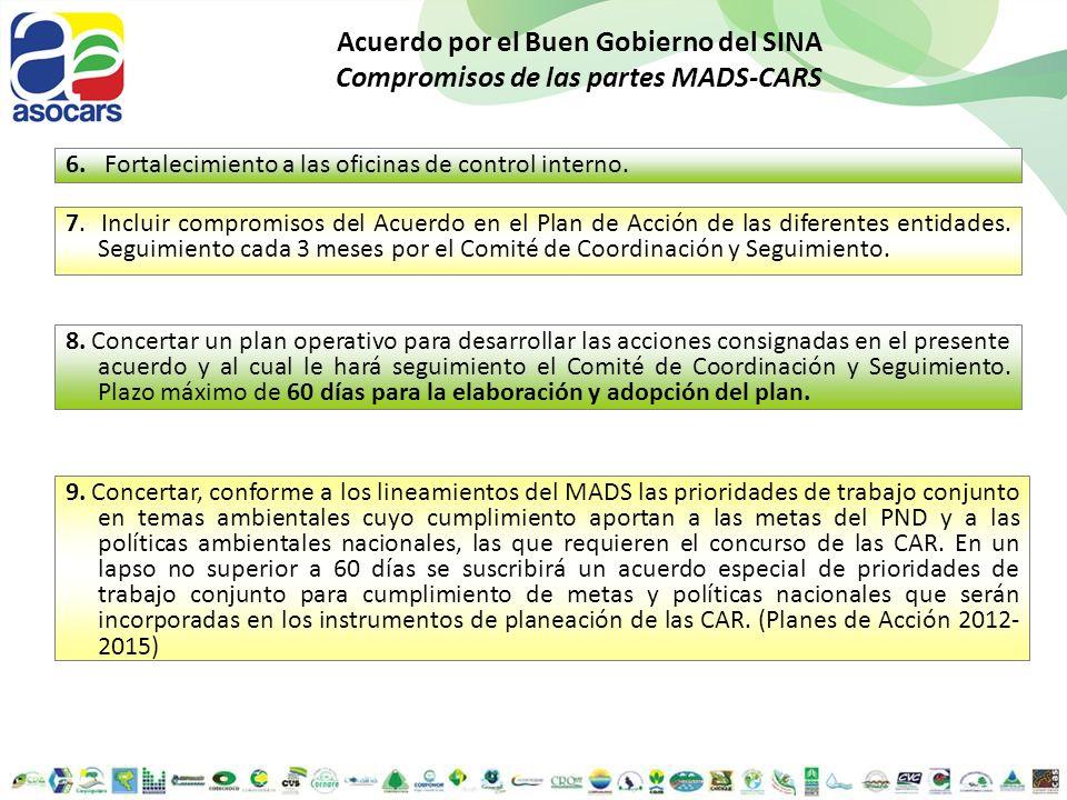 Acuerdo por el Buen Gobierno del SINA Compromisos de las partes MADS-CARS 6. Fortalecimiento a las oficinas de control interno. 8. Concertar un plan o