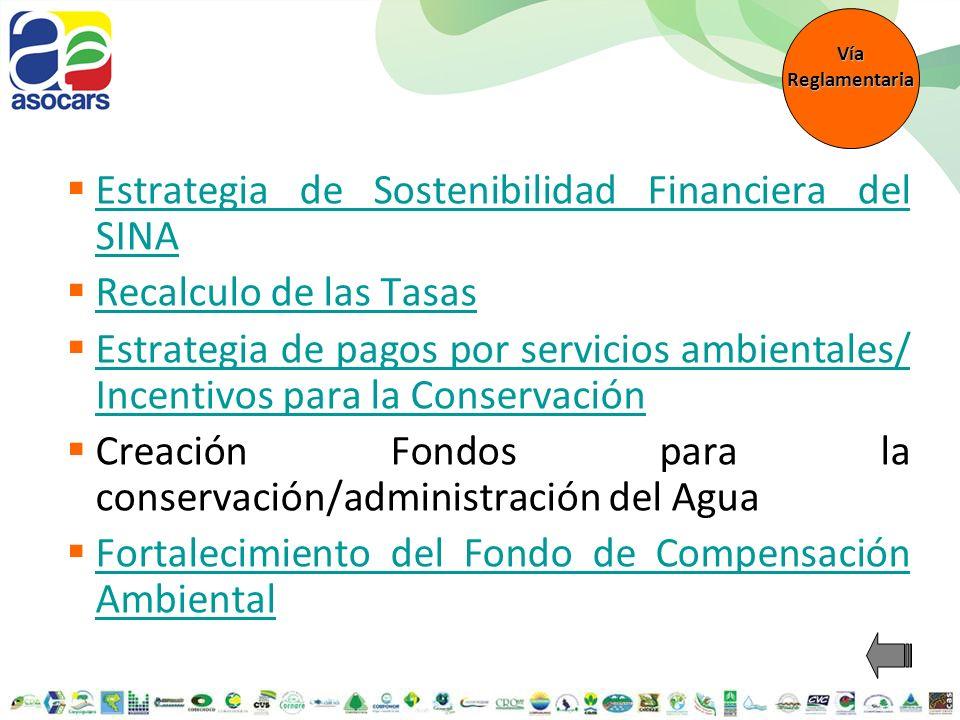 Estrategia de Sostenibilidad Financiera del SINA Estrategia de Sostenibilidad Financiera del SINA L1 Dimensionamiento de las necesidades para la gestión ambiental L2 Optimización de rentas actuales y generación de nuevas rentas Ajuste a rentas actuales Creación de nuevas rentas Impuesto de timbre a departamentos Transferencia de un % por proyectos MDL L3 Gerencia efectiva de recursos humanos, técnicos y financieros L4 Reconocimiento y legitimación de la gestión ambiental realizada por los actores públicos y privados del SINA Líneas estratégicas Líneas de acción (Enfoque) Propuestas