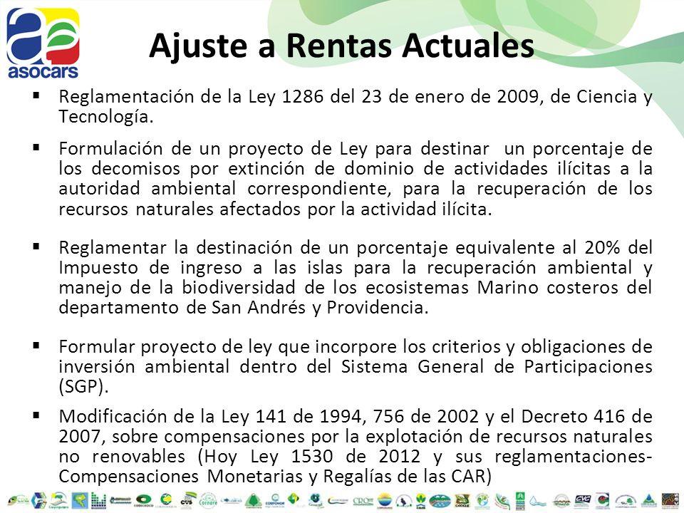 Ajuste a Rentas Actuales Reglamentación de la Ley 1286 del 23 de enero de 2009, de Ciencia y Tecnología. Formulación de un proyecto de Ley para destin