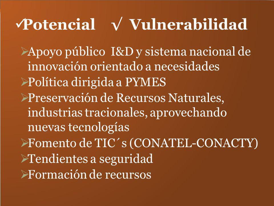 Potencial Vulnerabilidad Apoyo público I&D y sistema nacional de innovación orientado a necesidades Política dirigida a PYMES Preservación de Recursos