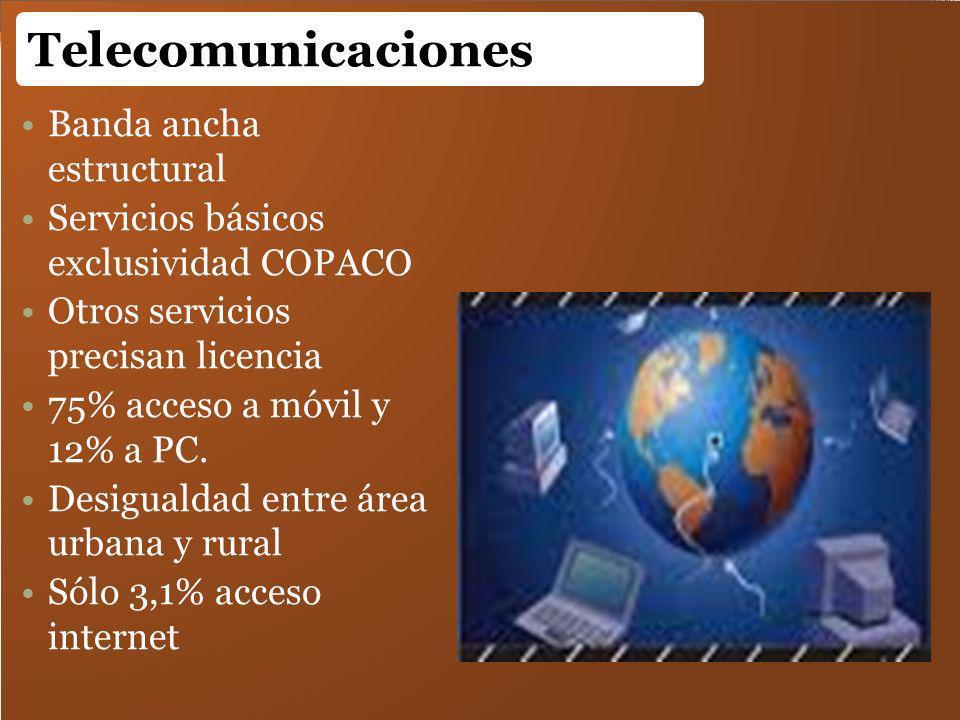 Banda ancha estructural Servicios básicos exclusividad COPACO Otros servicios precisan licencia 75% acceso a móvil y 12% a PC. Desigualdad entre área