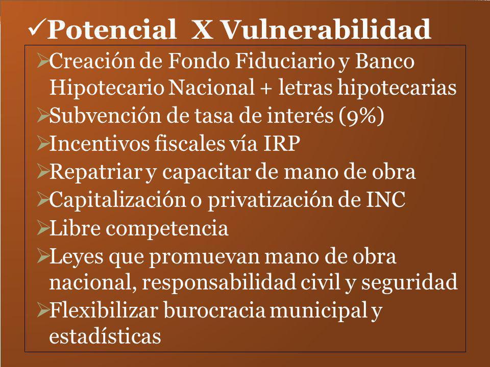 Potencial X Vulnerabilidad Creación de Fondo Fiduciario y Banco Hipotecario Nacional + letras hipotecarias Subvención de tasa de interés (9%) Incentiv