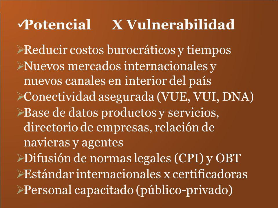 Potencial X Vulnerabilidad Reducir costos burocráticos y tiempos Nuevos mercados internacionales y nuevos canales en interior del país Conectividad as