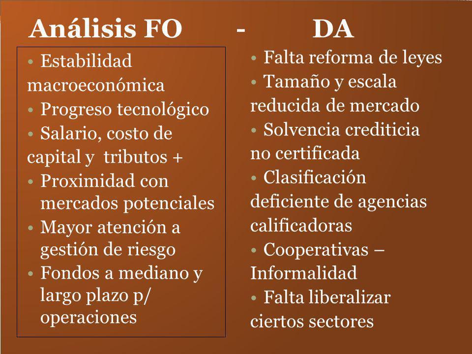 Análisis FO - DA Estabilidad macroeconómica Progreso tecnológico Salario, costo de capital y tributos + Proximidad con mercados potenciales Mayor aten