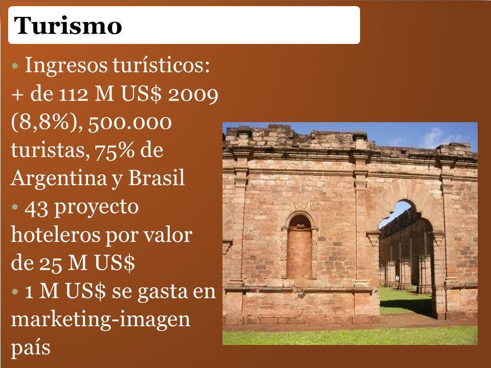 Ingresos turísticos: + de 112 M US$ 2009 (8,8%), 500.000 turistas, 75% de Argentina y Brasil 43 proyecto hoteleros por valor de 25 M US$ 1 M US$ se ga