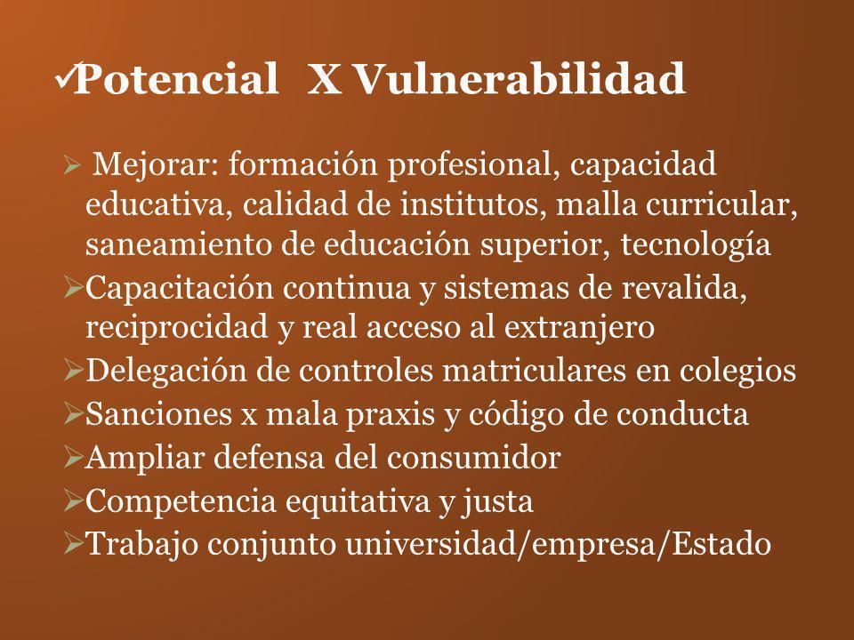 PotencialX Vulnerabilidad Mejorar: formación profesional, capacidad educativa, calidad de institutos, malla curricular, saneamiento de educación super