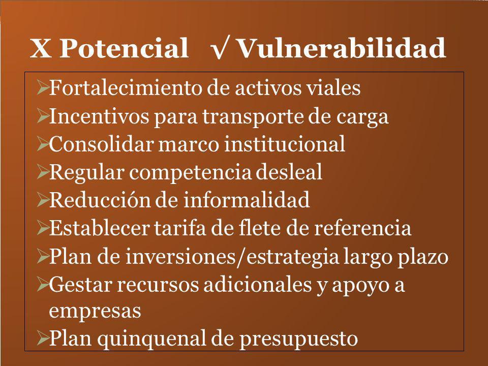 X Potencial Vulnerabilidad Fortalecimiento de activos viales Incentivos para transporte de carga Consolidar marco institucional Regular competencia de