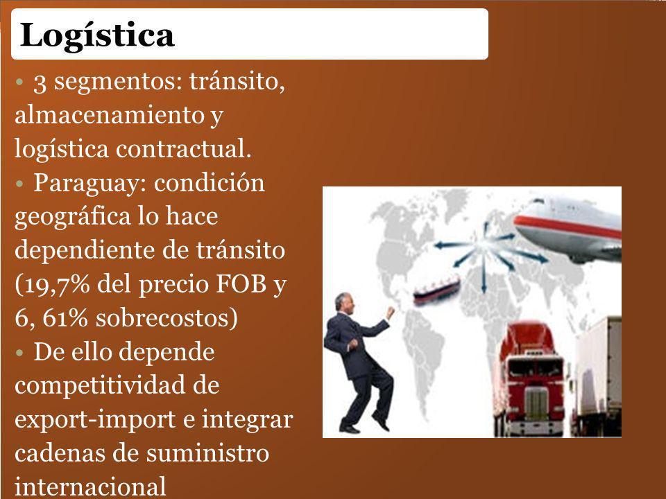 3 segmentos: tránsito, almacenamiento y logística contractual. Paraguay: condición geográfica lo hace dependiente de tránsito (19,7% del precio FOB y