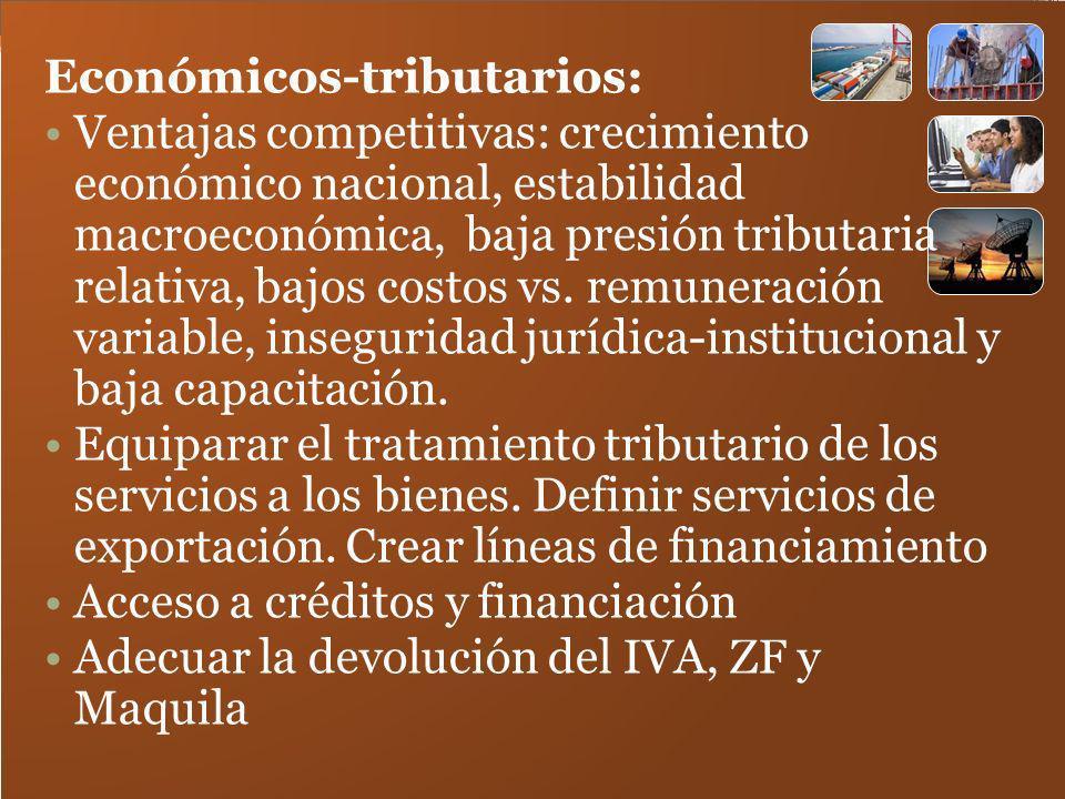 Económicos-tributarios: Ventajas competitivas: crecimiento económico nacional, estabilidad macroeconómica, baja presión tributaria relativa, bajos cos