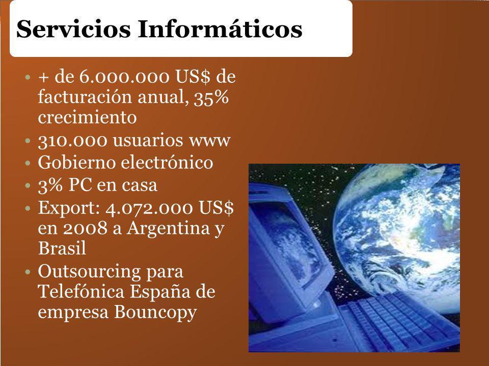 Servicios Informáticos + de 6.000.000 US$ de facturación anual, 35% crecimiento 310.000 usuarios www Gobierno electrónico 3% PC en casa Export: 4.072.