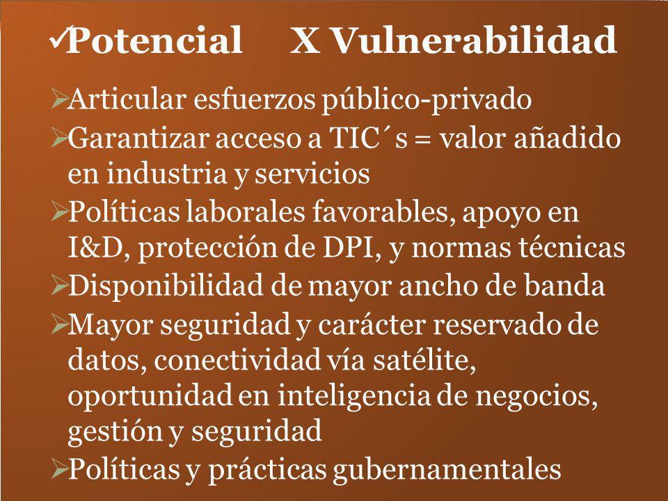 Potencial X Vulnerabilidad Articular esfuerzos público-privado Garantizar acceso a TIC´s = valor añadido en industria y servicios Políticas laborales