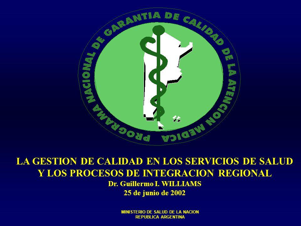 CALIDAD EN LOS SERVICIOS DE SALUD Y LA CRISIS FUNCIONES ESENCIALES Y PROGRAMAS DE GARANTIA DE CALIDAD EL ESTADO NACIONAL Y LA CALIDAD EN LOS SERVICIOS DE SALUD LA CALIDAD Y LOS PROCESOSDE INTEGRACIÓN REGIONAL MINISTERIO DE SALUD DE LA NACION REPUBLICA ARGENTINA JUNIO 2002