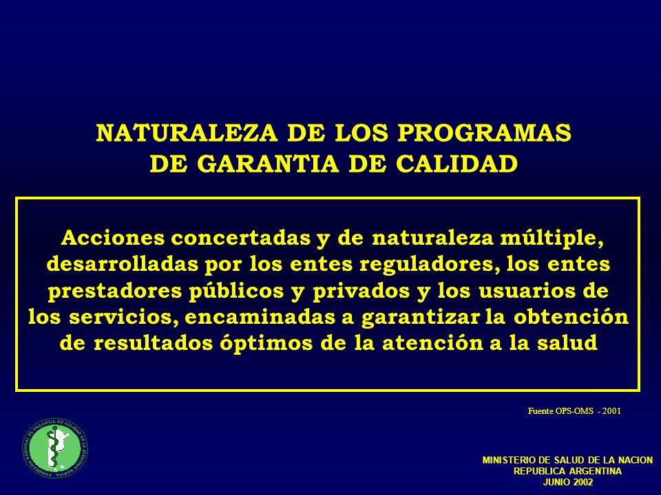 NATURALEZA DE LOS PROGRAMAS DE GARANTIA DE CALIDAD Acciones concertadas y de naturaleza múltiple, desarrolladas por los entes reguladores, los entes prestadores públicos y privados y los usuarios de los servicios, encaminadas a garantizar la obtención de resultados óptimos de la atención a la salud Fuente OPS-OMS - 2001 MINISTERIO DE SALUD DE LA NACION REPUBLICA ARGENTINA JUNIO 2002