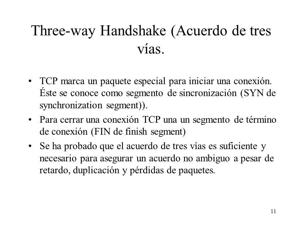 11 Three-way Handshake (Acuerdo de tres vías. TCP marca un paquete especial para iniciar una conexión. Éste se conoce como segmento de sincronización