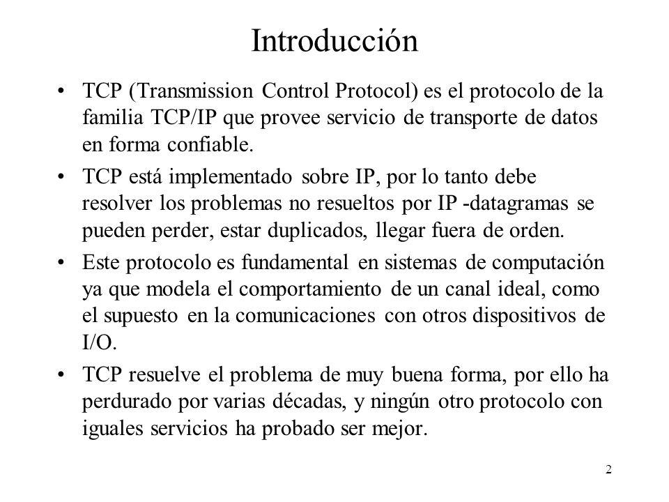 2 Introducción TCP (Transmission Control Protocol) es el protocolo de la familia TCP/IP que provee servicio de transporte de datos en forma confiable.