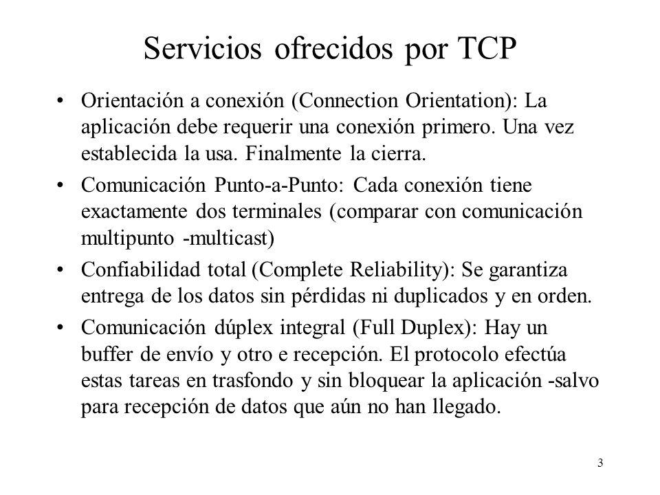 3 Servicios ofrecidos por TCP Orientación a conexión (Connection Orientation): La aplicación debe requerir una conexión primero. Una vez establecida l
