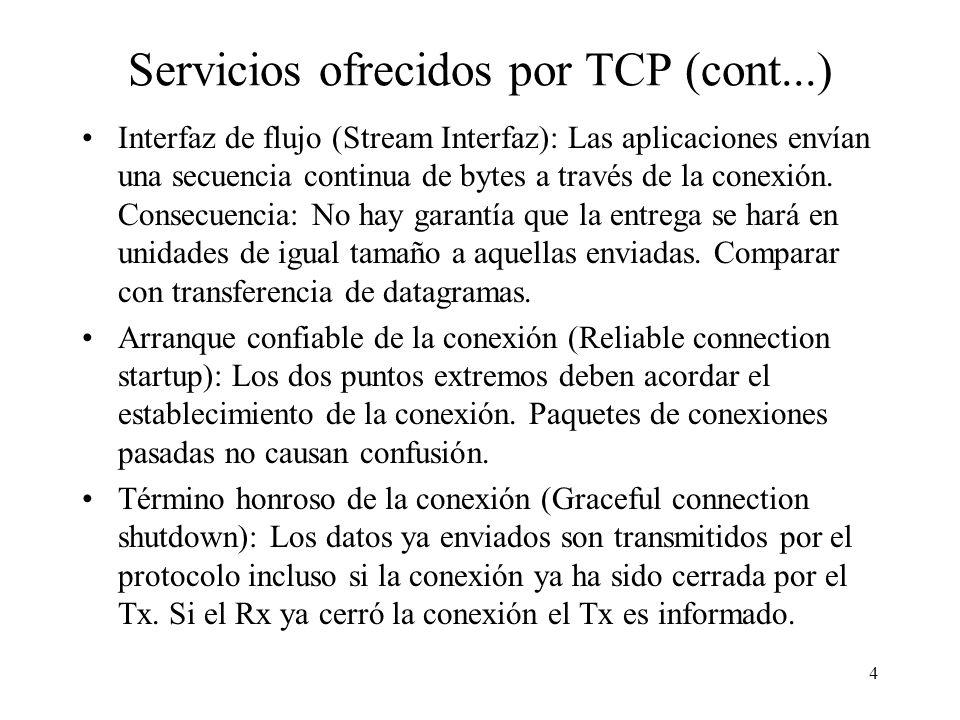 4 Servicios ofrecidos por TCP (cont...) Interfaz de flujo (Stream Interfaz): Las aplicaciones envían una secuencia continua de bytes a través de la co