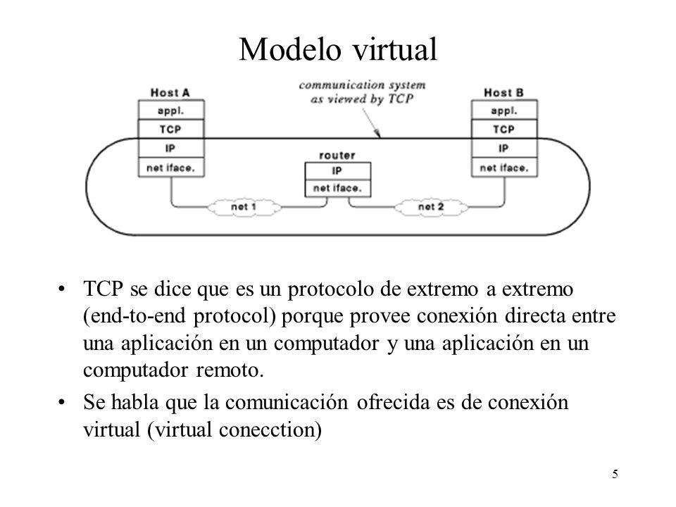 5 Modelo virtual TCP se dice que es un protocolo de extremo a extremo (end-to-end protocol) porque provee conexión directa entre una aplicación en un