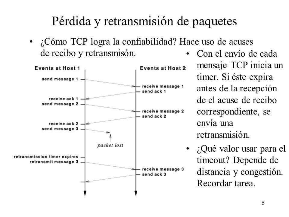 6 Pérdida y retransmisión de paquetes ¿Cómo TCP logra la confiabilidad? Hace uso de acuses de recibo y retransmisón. Con el envío de cada mensaje TCP