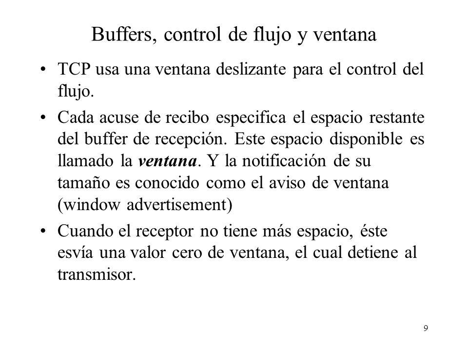 9 Buffers, control de flujo y ventana TCP usa una ventana deslizante para el control del flujo. Cada acuse de recibo especifica el espacio restante de