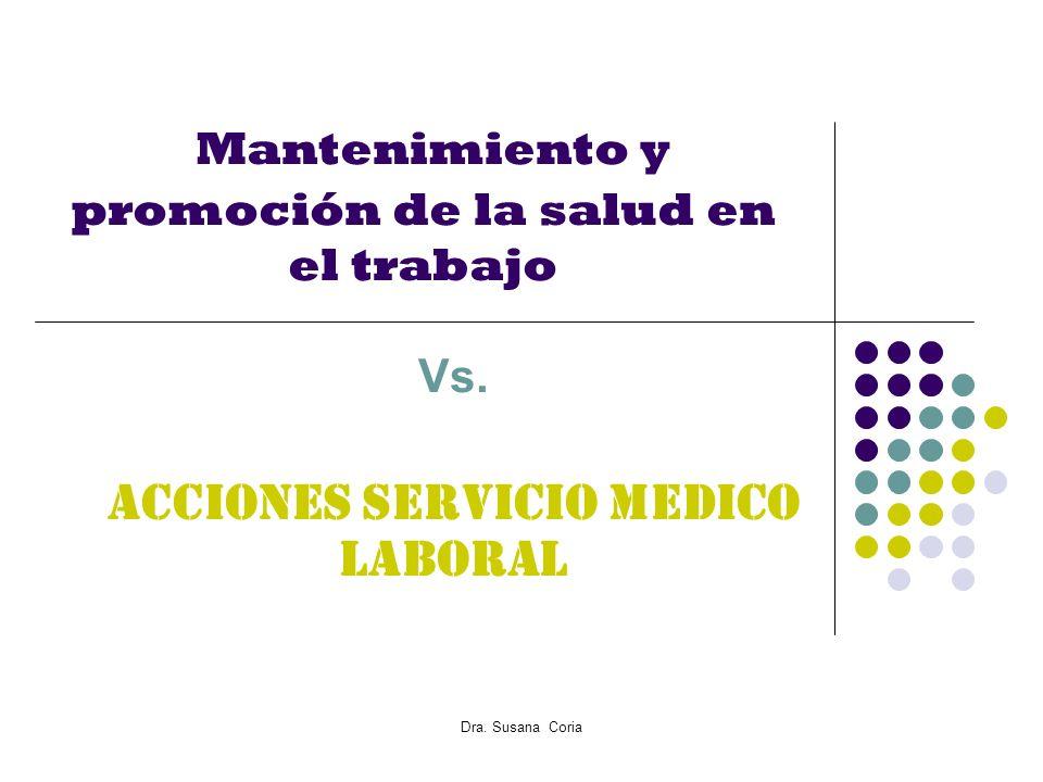 Dra. Susana Coria Mantenimiento y promoción de la salud en el trabajo Vs. Acciones Servicio Medico Laboral